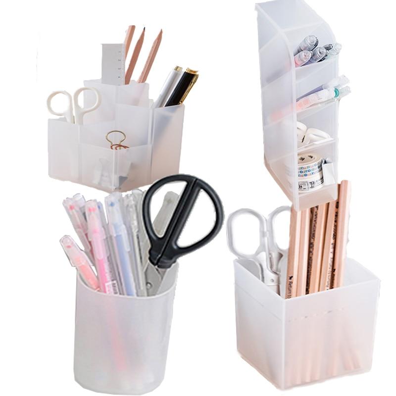 Креативный многофункциональный 4 сетки Настольный ящик для хранения muji стиль 4 сетки подсетка макияж косметический держатель настольный карандаш ручка Органайзер|Подставки для ручек|   | АлиЭкспресс