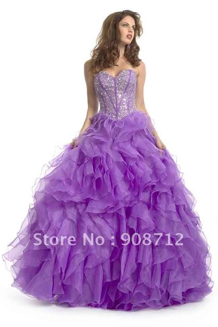 Designer Prom Dress !  Ball Gown Sihlouette Off-shoulder Ruffle Purple Organza Prom Dresses Formal Gowns