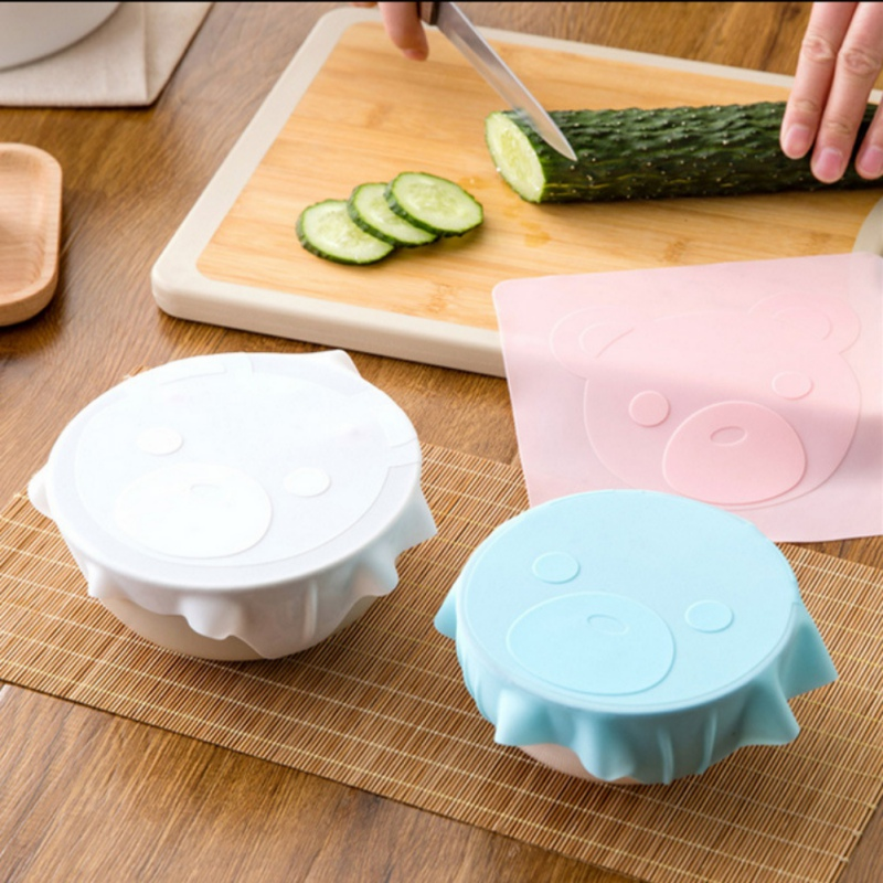 Image 2 - Cartoon Pattern Stretch Silicone Lid Reusable Fresh keeping Food Storage Covers Fit Various Sizes And Shapes Of Containers-in Fresh-keeping Lids from Home & Garden