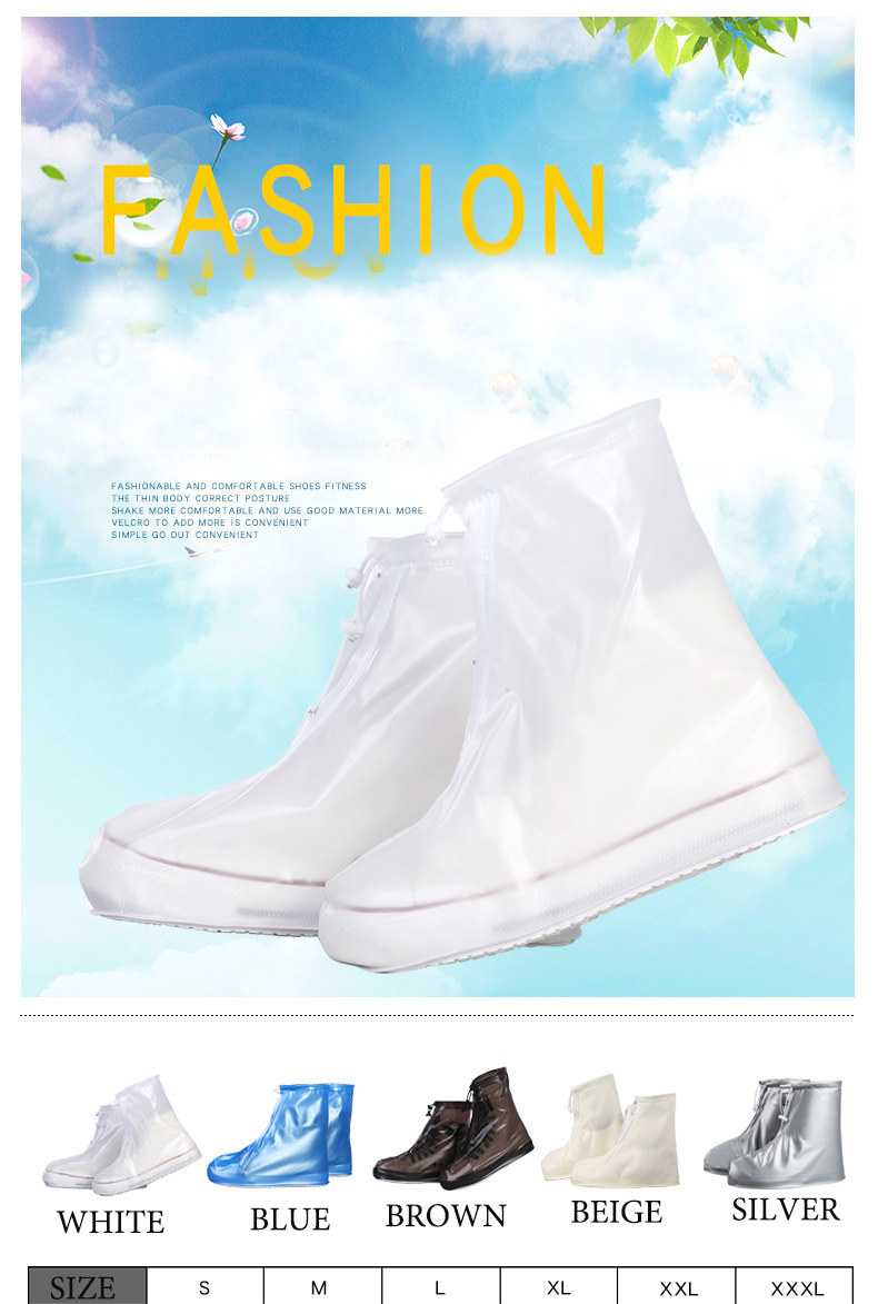 18 Newest Reusable Unisex Waterproof Protector Shoes Boot Cover Rain Shoe Covers High-Top Anti-Slip Shoe Cover 1