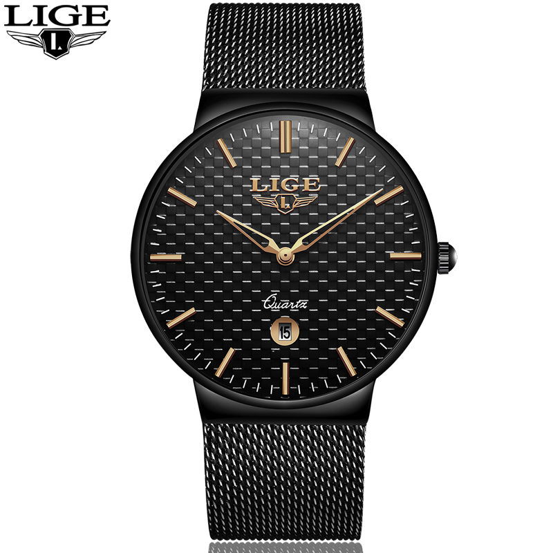 gave Ny LIGE cool Minimalistisk stil armbåndsur Rustfrit stål - Mænds ure - Foto 5