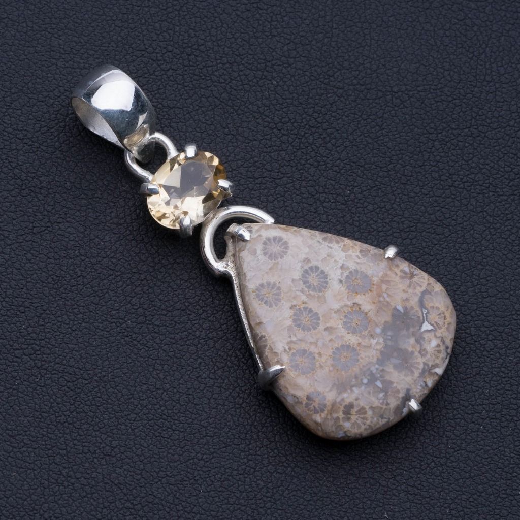 Natural Chrysanthemum Jasper and Citrine 925 Sterling Silver Pendant 2 P0588Natural Chrysanthemum Jasper and Citrine 925 Sterling Silver Pendant 2 P0588