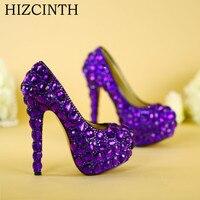 Hizcinth عالية الكعب الأرجواني الماس اليدوية الزجاج شبشب أحذية العروس أحذية الزفاف مساء مضخات المرأة واحدة موهير