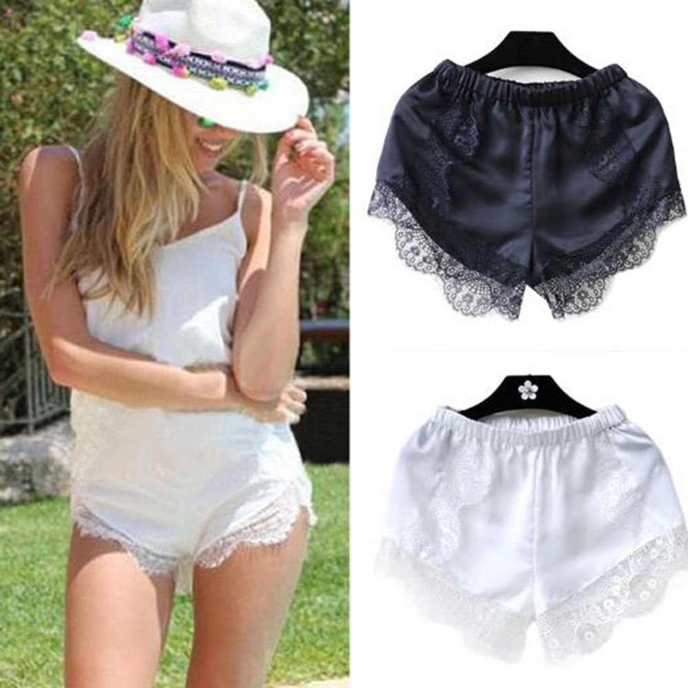 Women The Best Hot Short Pants Elastic Anti Chafing Lace Thigh Sock Middle Waist Lace Short Pants Mini Shorts free shipping