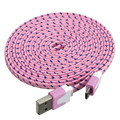 Woweinew 3M Fabric Braided Flat Micro USB Charger Data Sync Cable For Tablet Cellphone