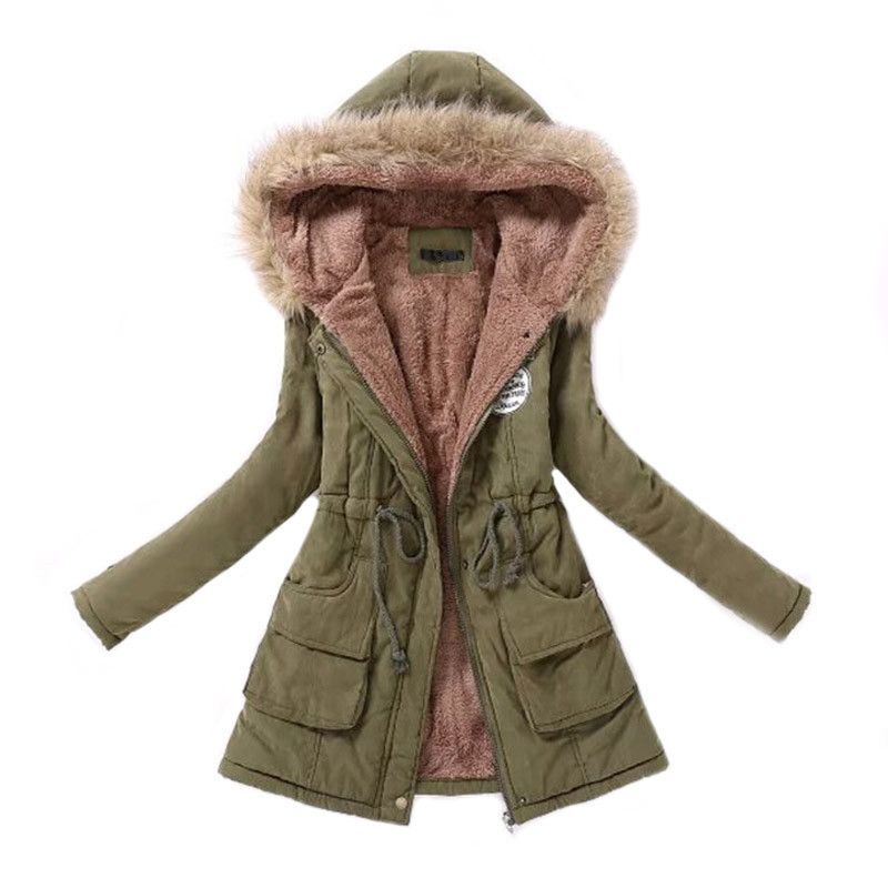 MSFILIA Parka Casual Outwear Autumn Winter Military Hooded Winter Jacket Women Fur