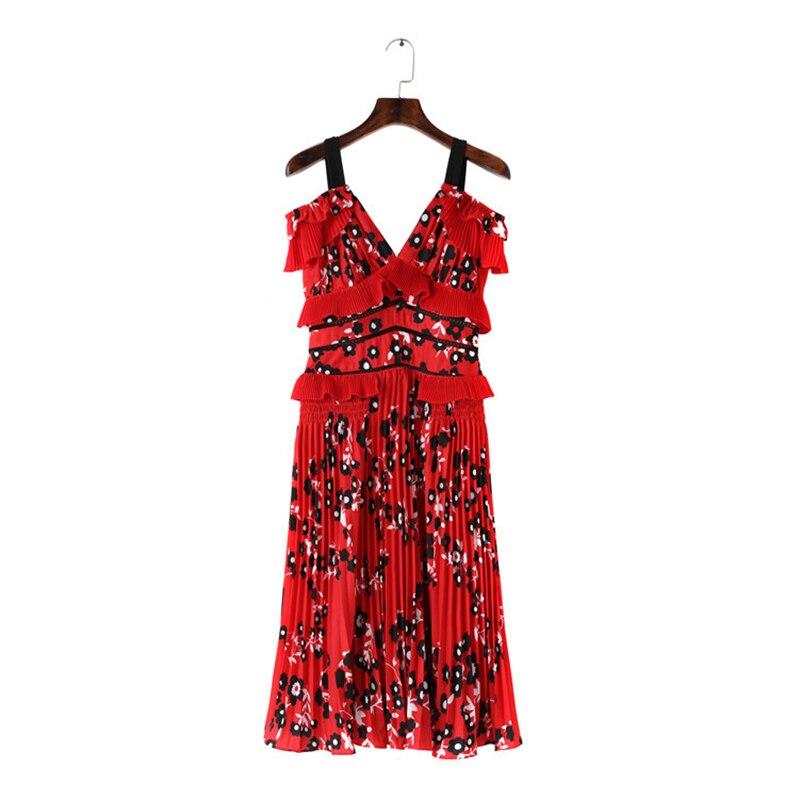 mollet Femmes Ruches Floral High Mi Robe Printemps Uniquewho Filles Street Plissée Partie Bohême Robes Rouge Été Sling 2018 t45q070wx