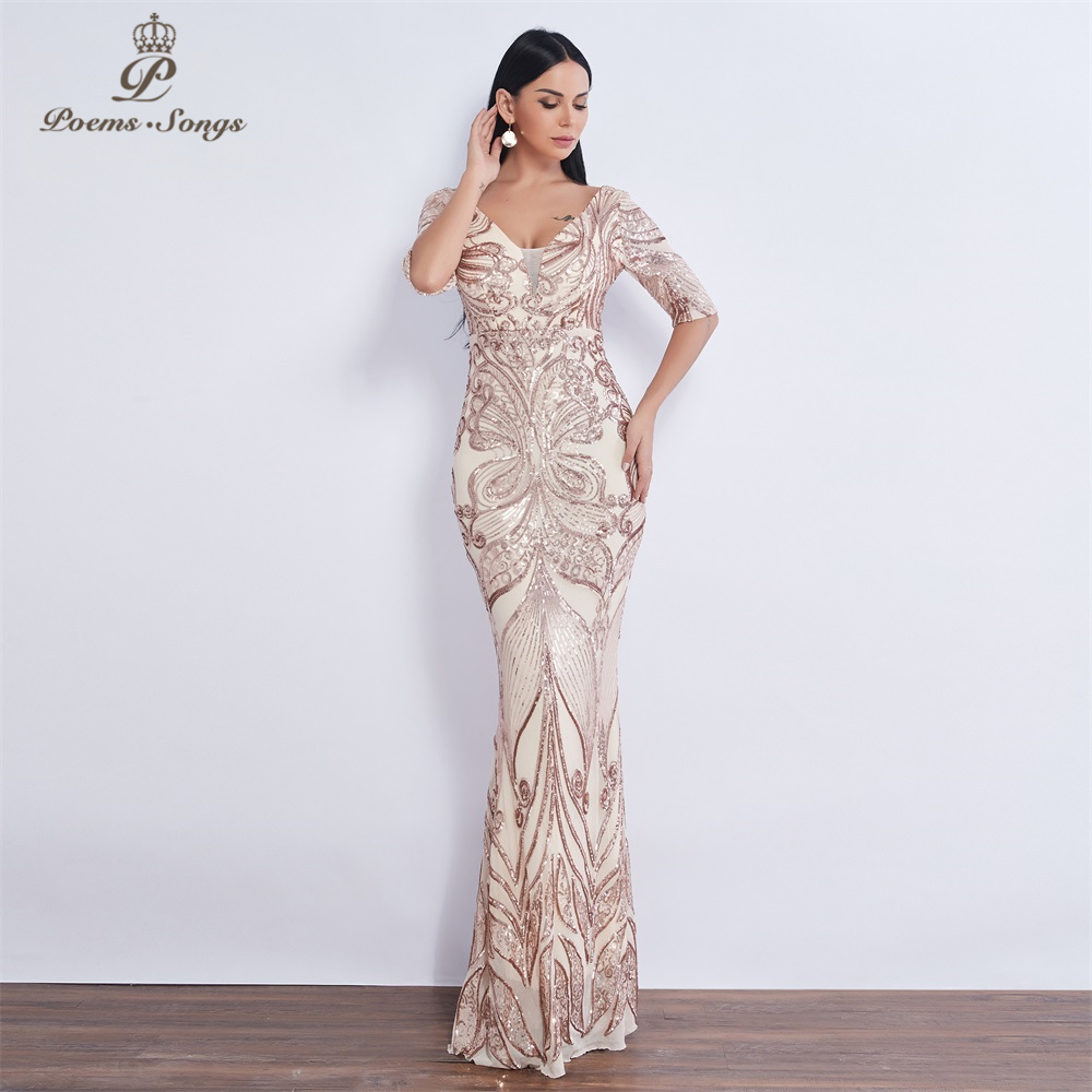 Poems Songs 2019 Butterfly style Sequin mermaid   Evening     dress   vestido de festa Formal Party   dress   robe de soiree prom   dress