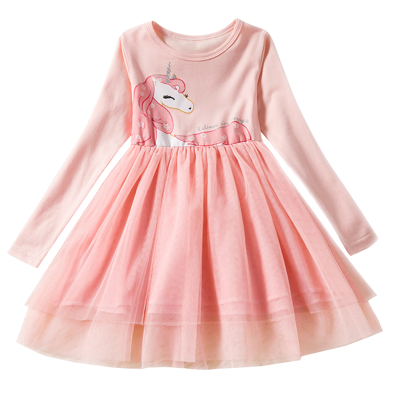 Autumn Girl Unicorn Dress Long Sleeve 2018 New Brand Princess Dress Girl Clothes Flower Kids Dresses Children Costume Vestido 6T menoea 2017 new girl dress autumn bow princess dress children clothes dot long sleeve 2 colors dresses 1pcs retail