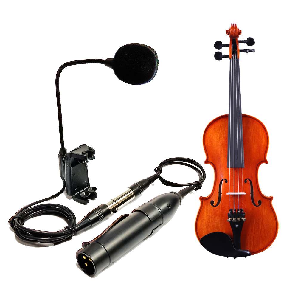 acoustic violin fiddle gooseneck condenser mic microphone with 3 pin mini XLR to XLR phantom power