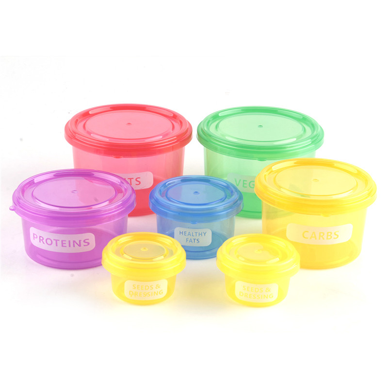 7pcs/set Perfect Portions Portion Lunch Cute Box Control Containers Food Storage-Easy Way To Lose Weight Using Portion image
