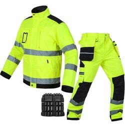 Bauskydd reflecterende werkkleding jas werk broek met kniebeschermers gratis verzending