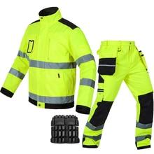 Bauskydd רעיוני workwear עבודת מעיל מכנסיים עם מגיני ברכיים משלוח חינם