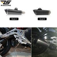 ZS Racing Carbon Fiber Universal Akrapovic Muffler With DB KILLER Exhaust Motorcycle For CBR1000 R6 Z750 Z800 ER6N TMAX530
