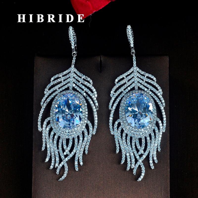 HIBRIDE Beautiful Big Luxury Crystal Cubic Zircon Round Cut Women Bride Drop Earrings Dangle Earring Pendientes mujer moda E-718 e home bride 3040cm холст
