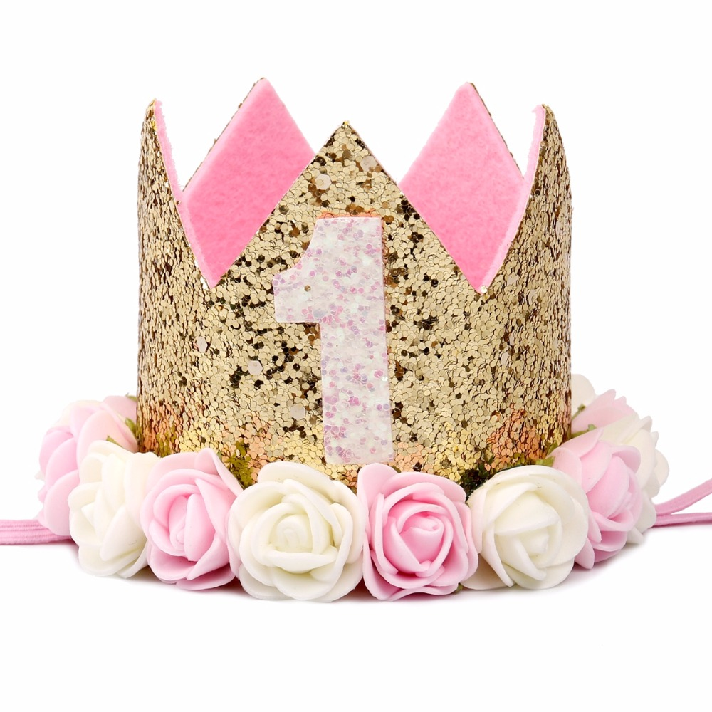 FENGRISE Baby Girl First Birthday Hat 1st 2nd 3rd Party Cap Pink Princess Crown Kids Favors
