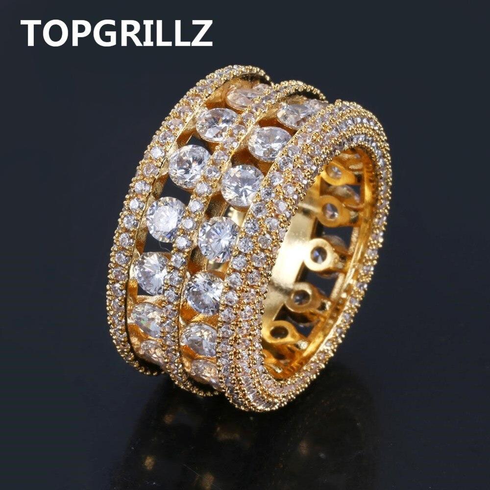 TOPGRILLZ Hip Hop anillo de latón Color plata oro helado Micro Pave CZ 2 filas más grande ancho anillos de encanto las mujeres de los hombres regalos de la joyería