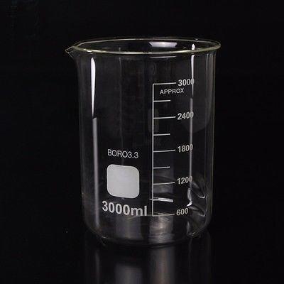 3000ml Low Form Beaker Chemistry Laboratory Borosilicate Glass Transparent Beaker Thickened with spout FREE SHIP laboratory techniques in organic chemistry