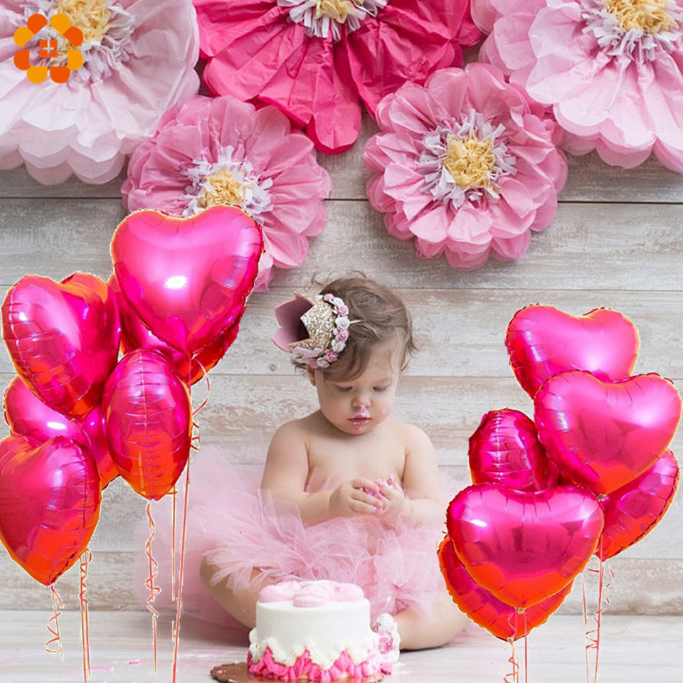 DIYHouse® 5PCS//Lot Baby Shower Party Foil Balloons Romantic Heart/&Star Shaped