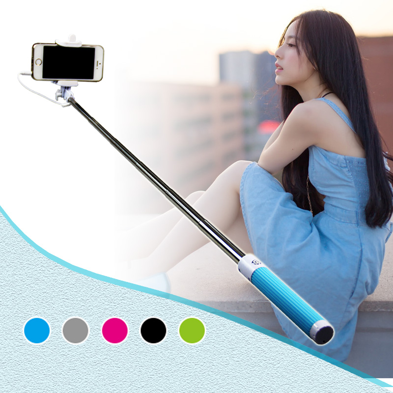 Mini Foldable Handheld Monopod Tripod Wired Selfish Stick Cable Extendable Self Stick For iPhone Samsung Smartphone