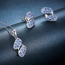 Sterling Silver Tanzanite Elegant Pendant & Earrings Set