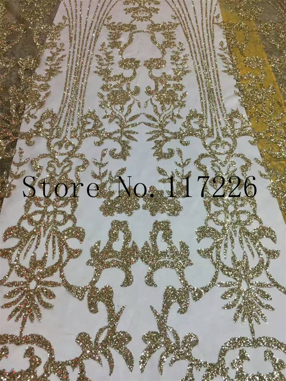 High Quality Gold French Tulle Lace With Jrb 35642 Embroidery