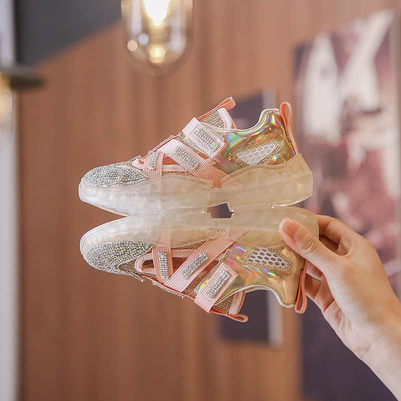 New 2019 Mùa Thu Trẻ Em Lưới Giày Trẻ Em Rhinestone Giày Thể Thao Giản Dị Bé Cô Gái Thể Thao Giày Thể Thao Thời Trang Sneakers Thương Hiệu Huấn Luyện Viên