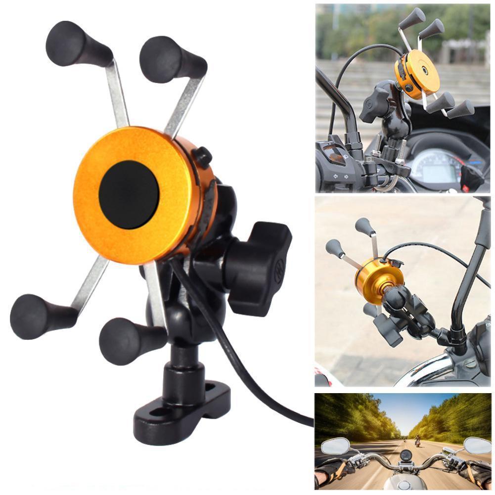 imágenes para Sostenedor del soporte del teléfono celular móvil universal de la bici de la motocicleta del montaje del manillar sostenedor de la horquilla del cargador usb para iphone oro a273