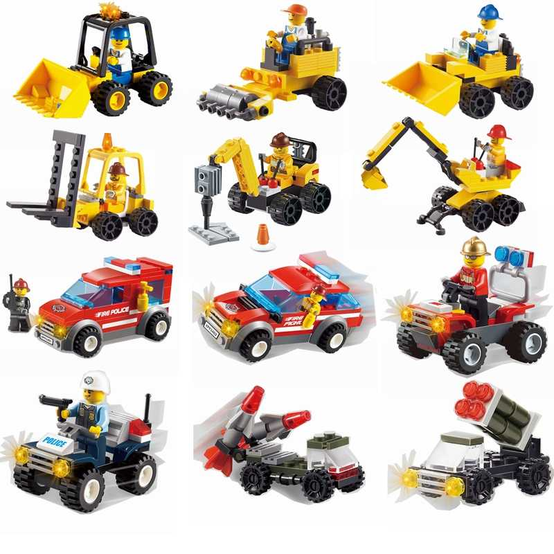 Legoing City Police Engineer Forklift Navvy Drilling Roller Building Blocks Toys for Children Compatible with Legoings City Cars