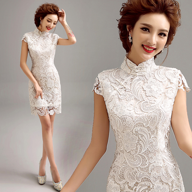 2016 Fashion White Lace Qipao Short Cheongsam Dress  Modern Qi Pao Chinese Traditional Dress Oriental Dresses Robe Chinoise