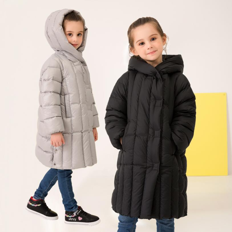 Children girls long sleeve causl style warm down jackets 2019 winter new brand white duck down coats for baby girls teens ws916