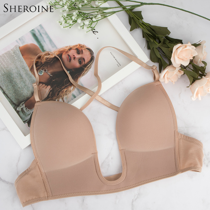 8ea66a0c58d16 Sheroine U Shape Plunge Bra Backless Bras Multi-way Women Push Up Brassiere  Dress underwear Low Cut Deep U Plunge Bras