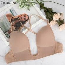 Sheroine U Shape Plunge Bra Backless Bras Multi-way Women Push Up Brassiere Dress underwear Low Cut Deep U Plunge Bras