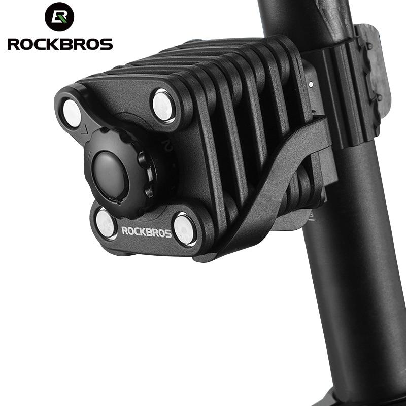 ROCKBROS Mini Portátil Dobrável Bicicleta Bloqueio Ultra Forte Liga De Aço Endurecer Resistente a Broca de Metal Anti-roubo Segurança Bloqueio