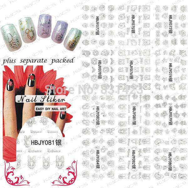 2015 NUEVO 90 Unids/lote HBJY073-084 Plata 3D Diseño DIY lindo Del Ratón de dibujos animados oso pato Nail Art Nail Sticker Decal Nails manicura