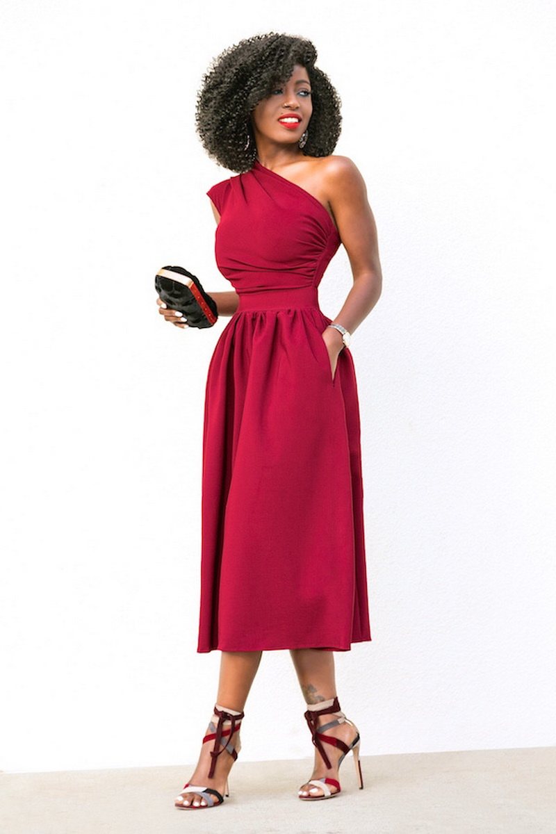 Women Elegant Evening Party Dresses Sleeveless One Shoulder Sexy ...