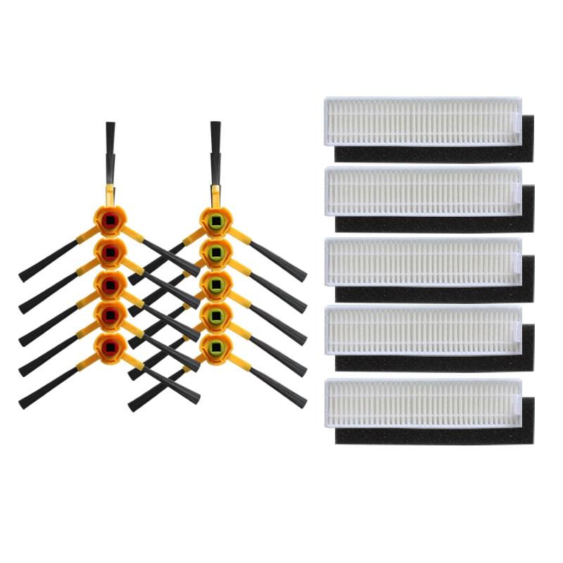 Acheter 10 pcs (L + R) brosse latérale + 5 pcs éponge filtre Hepa pour Ecovacs CHAMBRE D36A DA611 DB35 TEK TCR S TCR S2 Aspirateur Pièces de Pièces d'aspirateur fiable fournisseurs