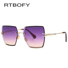 96a0da1e55 RTBOFY Frameless Oversized Sunglasses Women Square Glasses for Womens Brand  Designer Cut edge Shades Sun Glasses 18600-4