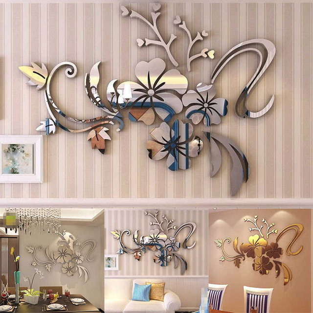 3D DIY Modern Acrylic Art Removable Wall Mirror Sticker Floral Bedroom DIY Kitchen  Decor Vinyl Universal
