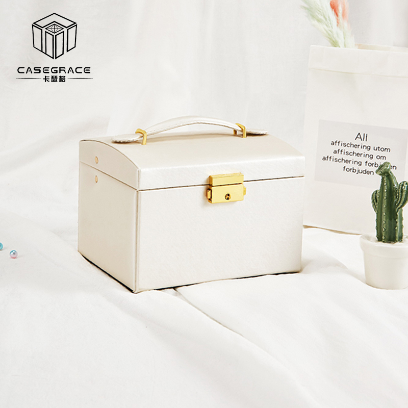 Stripe PU Leather Jewelry Packaging 3-Layer Double Drawer Makeup Box for Women Ring Earrings Necklace Storage Boxes Bins Travel makeup organizer box