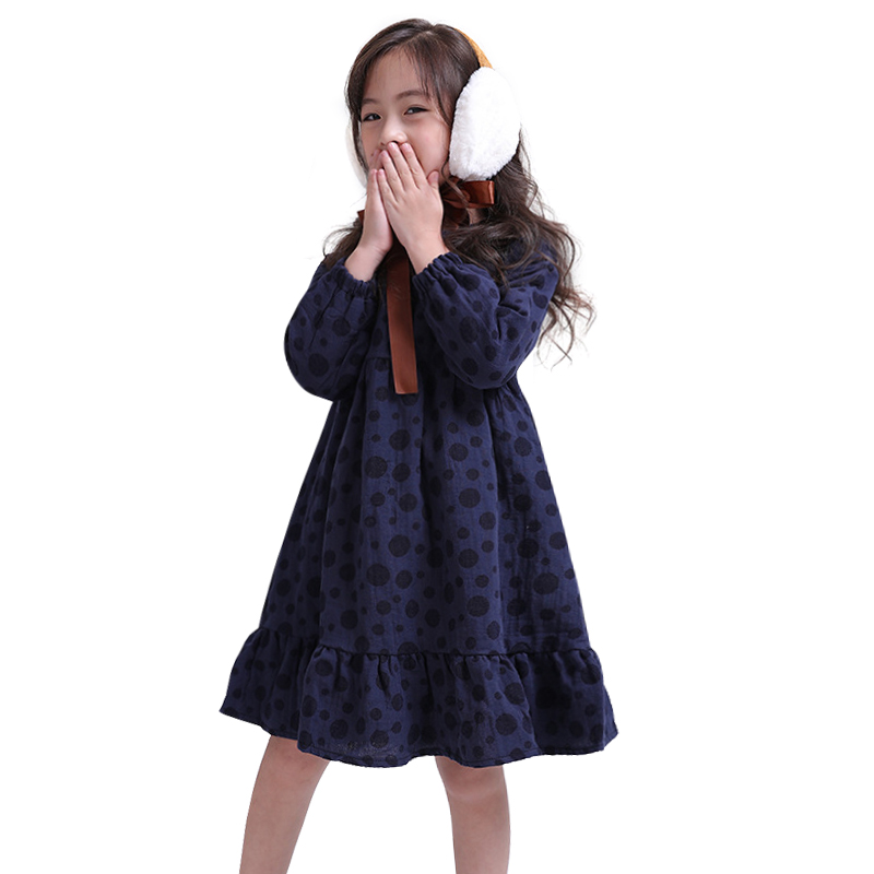 simple loose cotton dot frocks for 3-10 yrs girls chinese style long sleeve dress winter autumn thick warm princess costume 2018 цены