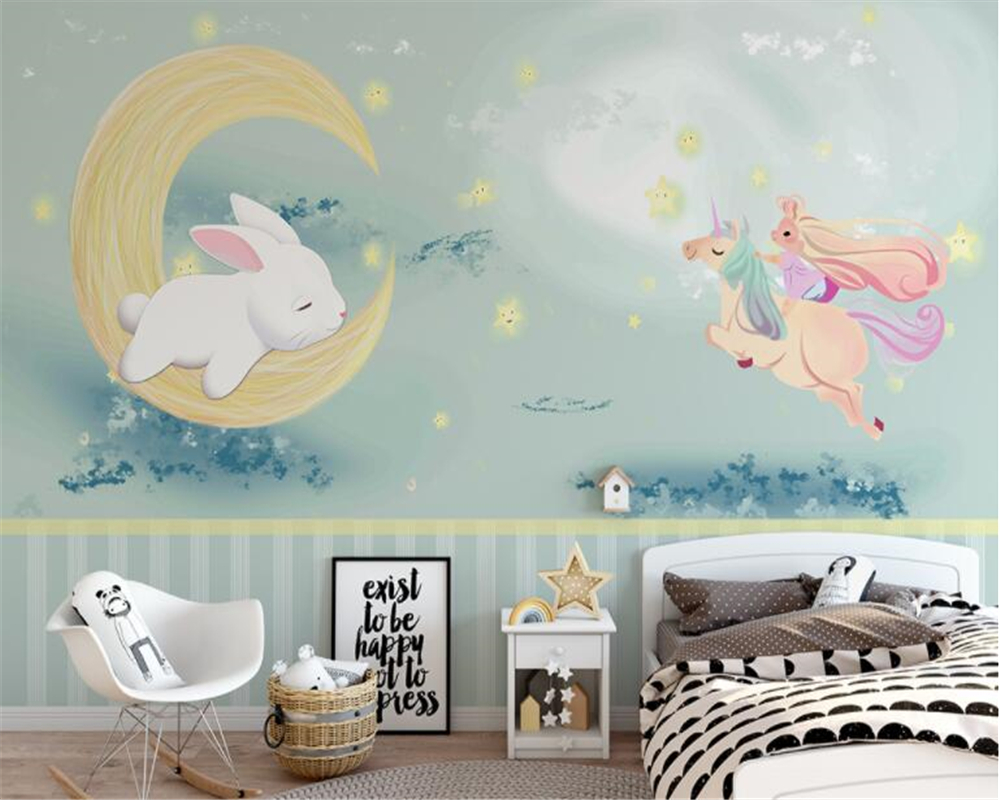 Beibehang Papel De Parede Wallpaper Cute Rabbit Hand-drawn Unicorn Children Background Wall Hudas Beauty Papier Peint