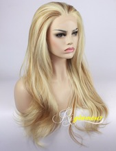 Mixed Blonde Brown Highlights Wig Straight Heat Resistant Synthetic Lace Front Wigs Half Hand Tied 100% Fiber Hair 2 Tones