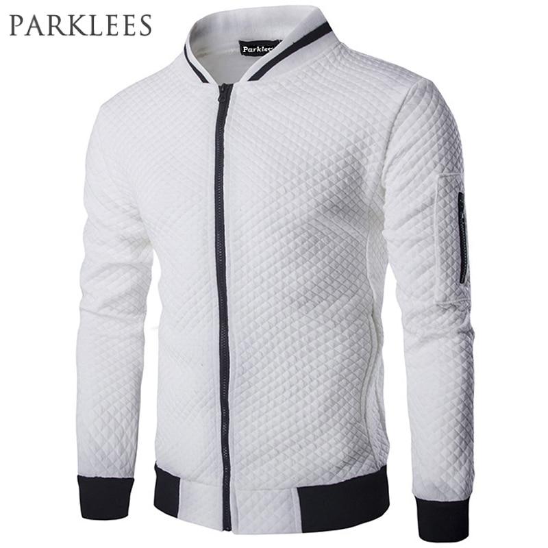f9be0666e7a Neue Trend Weiß Jacke Männer Veste Homme 2016 Bomber Herren Mode Slim Fit  Argyle Zipper Varsity Jacke Casual Jacke Für herbst