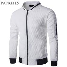 New Trend White Jacket Men Veste Homme 2016 Bomber Mens Fashion Slim Fit Argyle Zipper Varsity Jacket Casual Jacket For Fall