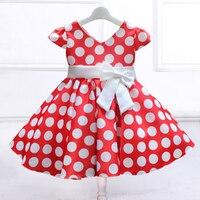 Patrón Retail dot con arco grande, Kid Girl party vestido v-cuello vestido L616