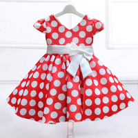 Retail dot pattern dress with big bow, kid girl party dress V Neck dress L616