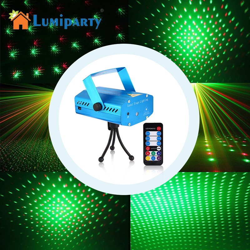 LumiParty Mini LED Laser Club Bar Stage Light Party Pattern Lighting Voice-activated Projector Show Remote Laser Projector