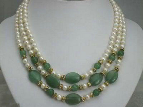 """2Strands White Akoya Cultured Pearl/&Emerald/&Crystal Necklace 17/""""-18/"""""""