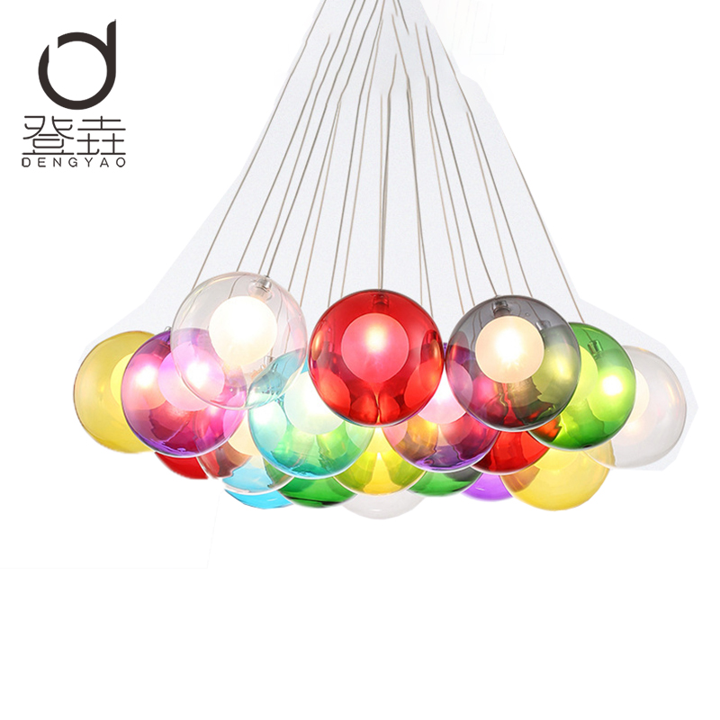 Creative design Modern LED colorful glass pendant lights lamps for dining room living room bar led G4 85-265V bubble glass light creative design modern led colorful glass pendant lights lamps for dining room living room bar led g4 85 265v bubble glass light